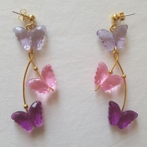 Funky 90s Avon dangle butterfly earrings